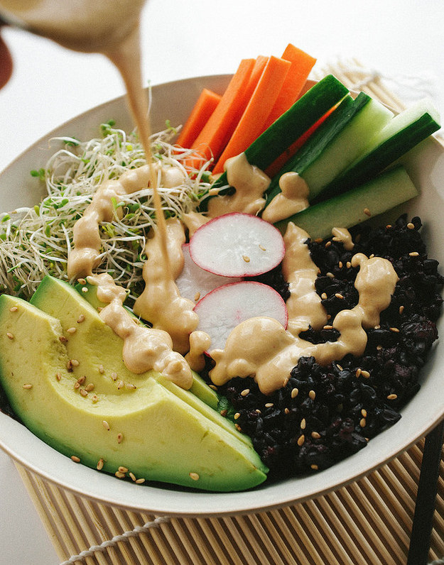 Black Rice Sushi Bowl and Dynamite Sauce