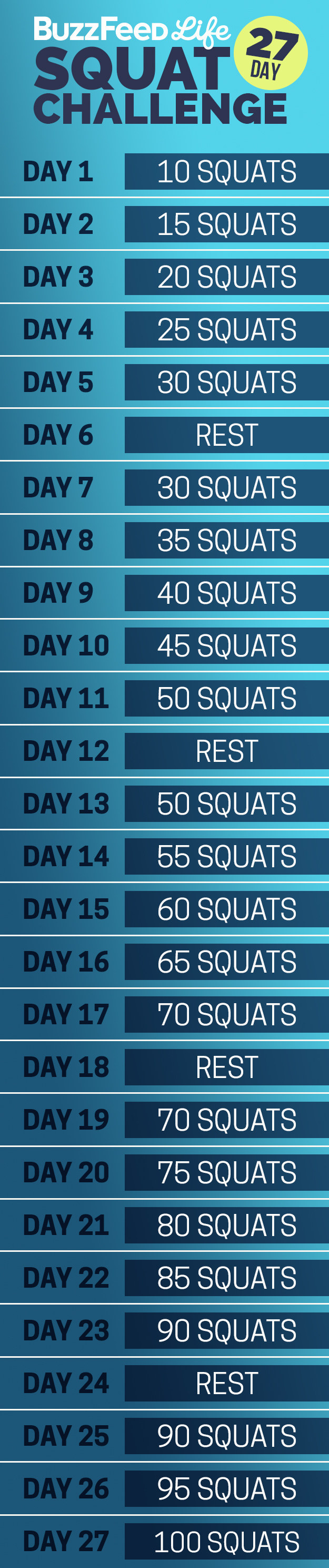 Here s your daily squat schedule. Take This 27 Day Summer Butt And Thighs Challenge   PharmacyPedia